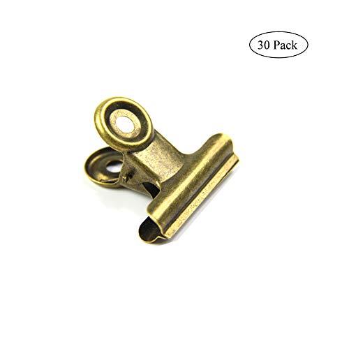 Latón antiguo pequeños Bulldog clips, Coideal 30 Pack bisagra Clip 1 inch metal sujetapapeles clips de papel de dinero pinzas para etiquetas bolsas, tiendas, oficina y cocina casera (bronce, 22mm)