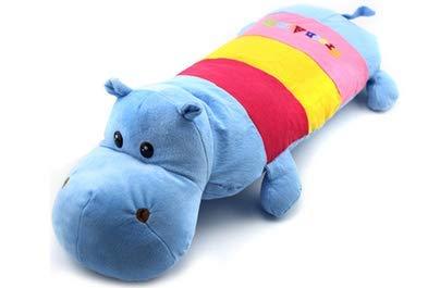 ZQBQY Bleu Hippo Enfants Dessin Animé Oreiller Animal Mâle Et Femelle Bébé 1-3-6 Ans Enfant Maternelle Coton Sarrasin Shell Quatre Sièges Oreiller 23 * 58 * 5Cm
