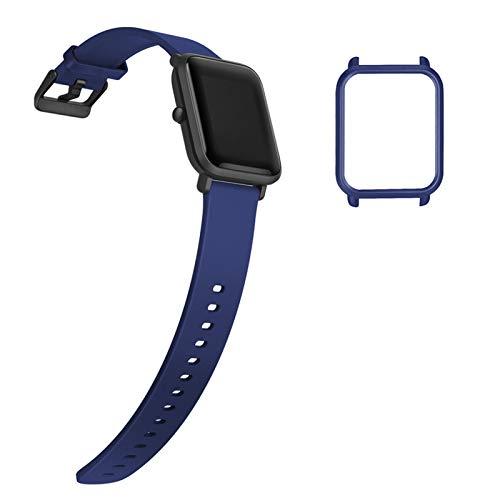 YHC Correa para Xiaomi Amazfit Bip/Bip Lite correas, pulsera de repuesto de silicona suave con carcasa protectora (azul)