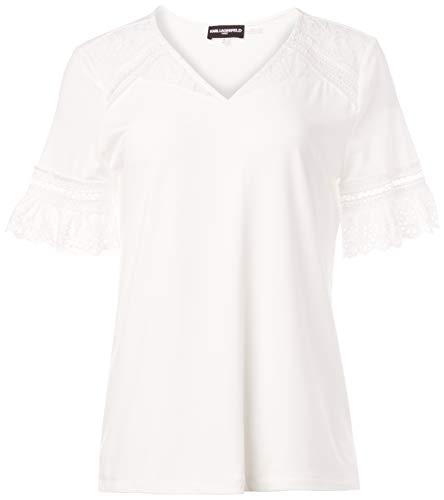 KARL LAGERFELD Paris Damen Lace Sleeve Detail Top Hemd, Weiß (Soft White), Klein