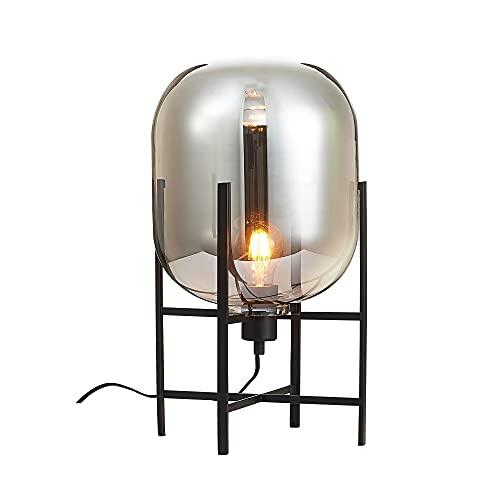 Lámpara de mesa con tulipa ovalada de cristal y metal negra de...