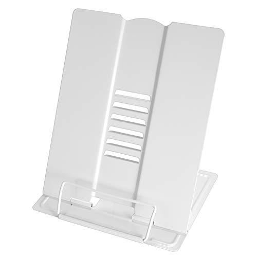 HooAMI ブックスタンド 筆記台 書見台 本立て ブックスタンド 卓上 読書 スタンド 楽譜 クリップ 耐久性 6段階調整 目の保護 読書台 ブックエンド (白-A4)