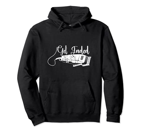 Distressed Barber Get Fadded Hair Trimmer Haircut Vintage Pullover Hoodie