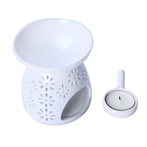 Ceramic Aroma Diffuser Oil Burner Candle Holder Candle Lamp with Candle Spoon, Aromatherapy Wax Melt Burners Oil Diffuser Tealight Candle Holders Ornament for Yoga Spa Home Bedroom Decor Gift (White)