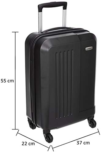 Amazon Brand - Solimo Black Hardsided Cabin Trolley, 55 cm