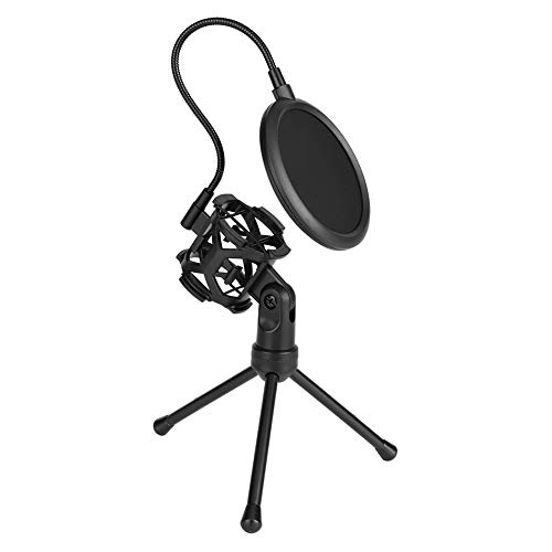 Lightweight and Portable Microphone Desktop Bracket,Trendy Microphone Filter 360° Adjustment & Precise Positioning with Round Windshield to Effectively Reduce Handling and Breath Noises