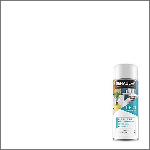 Renaulac Peinture Aérosol Déco multi-supports - Blanc (Blanc Mat) - 400 ml (Ref: C-REAERDECM-0000-0L4)