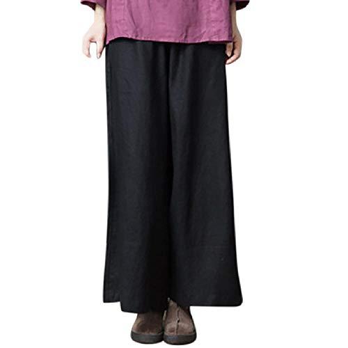 nobrand Einfarbige Hosen mit weitem Bein für Damen aus Baumwolle und Leinen in Übergröße, große ethnische Hosen mit weitem Bein