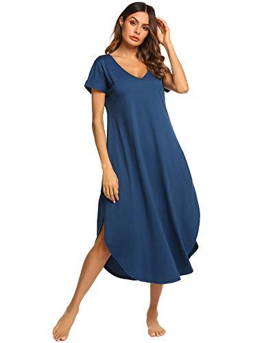 Ekouaer Women's V Neck Sleepshirts Short Sleeve Sleepwear Plus Size Nightgown (Navy Blue,XXL)