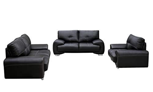 Polstergarnitur Sofa Set 3er & 2er & Sessel 3-2-1 Wohnlandschaft 3-Sitzer und 2-Sitzer mit Sessel Möbel Set - Florida (Schwarz)