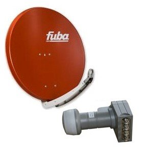Antenne Fuba 85x85 cm Alu Rot DAA 850 R + Fuba Quad LNB DEK 416