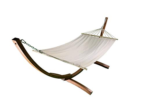 Petra Leisure, 12 Ft. Water Treated Wooden Arc Hammock Stand + Premium Quilted, Double Padded Hammock Bed. 1 Person Bed. 300 LB Capacity(Teak Stain/Beige)