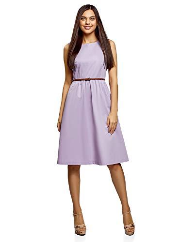 oodji Ultra Damen Ärmelloses Kleid mit Seitentaschen, Violett, XXS