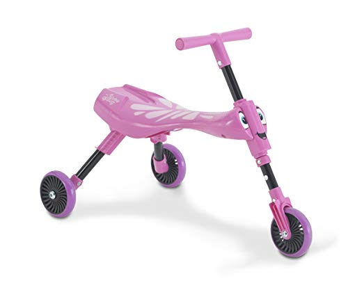 Mookie Scuttlebug 3-Wheel Foldable Ride-On Tricycle with Antennae Handlebar! | Butterfly | Develop Your Toddler's Balance and Motor Skills, Fun with No Surface Scratches! | for Kids 12 Months and Up