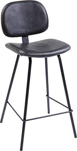 Kare Design barkruk Barber zwart 65cm, rond, gewatteerde barkruk in de kleur zwart, gevoerde barkruk met voetensteun in kunstlederlook, met contrasterende naad (H/B/D) 95x44x47cm