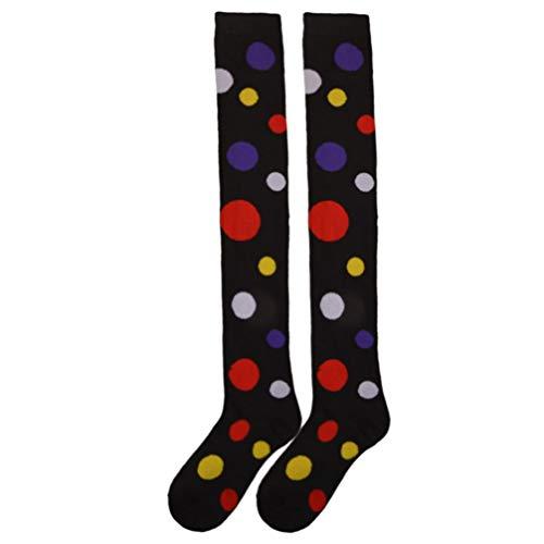Amosfun Über Kniestrümpfe Clown Polka Dot Kostüm Cosplay Strumpf lange Schlauch Socken verkleiden sich Leistung Zubehör für Karneval Bühnenparty (schwarz)