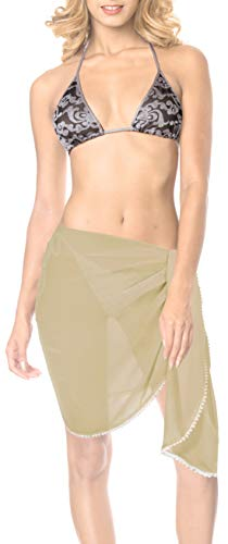 LA LEELA Sciarpa per Face Cover Solido Chiffon di Colore Chiaro Pianura Pura Spiaggia Nuotata Khakhi Gonna Bikini