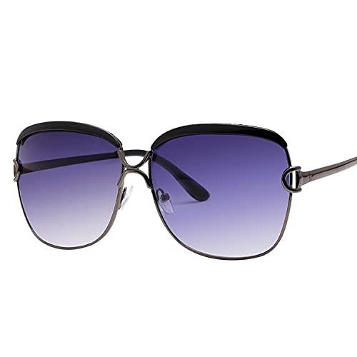 KANGDE Gafas de Sol de Gran tamaño para Mujer, Gafas de Sol Transparentes de Lujo con gradiente, Montura Grande, Gafas Vintage, Gafas UV400 para Mujer