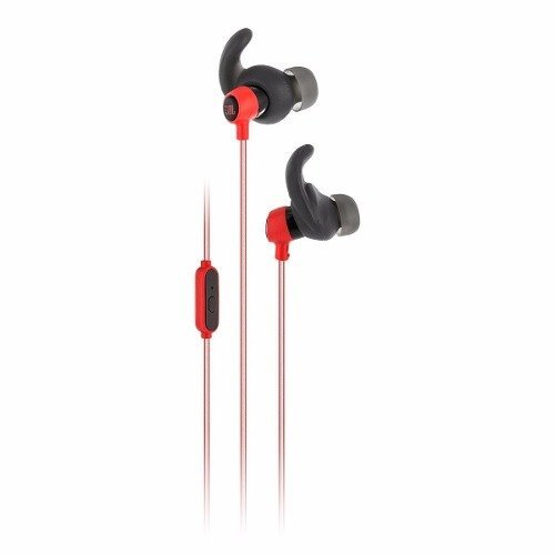 JBL Reflect Mini Leichter In-Ear Sport-Kopfhörer Ohrhörer Schweißbeständig mit Hochreflektierendem Kabel, 1-Tasten-Fernbedienung/Mikrofon - Rot
