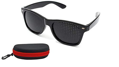 Rockoshop Lazy Spectacles Pinhole Vision Correction Glasses Eyesight Improvement For Men/Women/Kids with Hard Case (Black)
