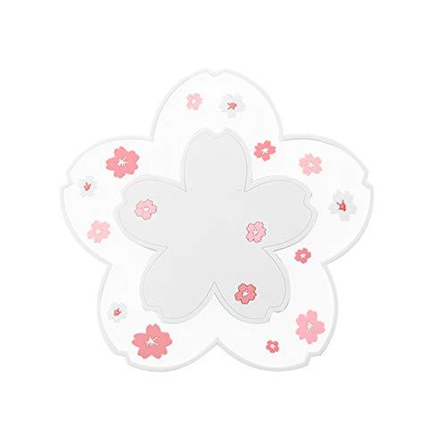 nimabi Juego de posavasos antideslizantes con diseño de flores de cerezo para beber, coche, soporte para tazas de cocina, aislamiento térmico, color blanco