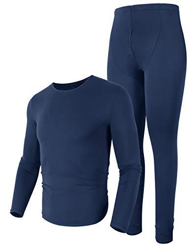 Mens Soft Thermal Underwear Snow Long Johns Light Weight Thermal Underwear Navy Blue S