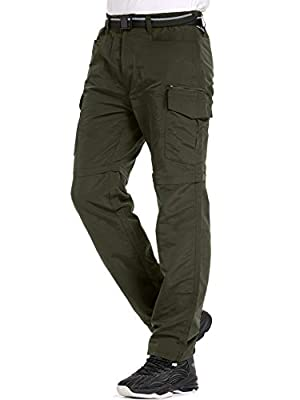 Mens Hiking Pants Convertible Quick Dry Lightweight Zip Off Outdoor Fishing Travel Safari Pants (6055 Army Green 42)