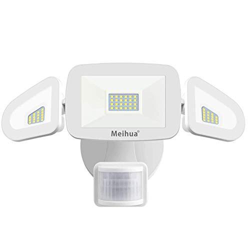 MEIHUA 42W LED Strahler mit Bewegungsmelder, 4200LM Außenstrahler mit Sensor IP65 Wasserdicht, Flutlichtstrahler 6500K Drei-Kopf 180°Verstellbar,Sicherheitslicht für Garagen Terrassen Gärten Innenhöfe