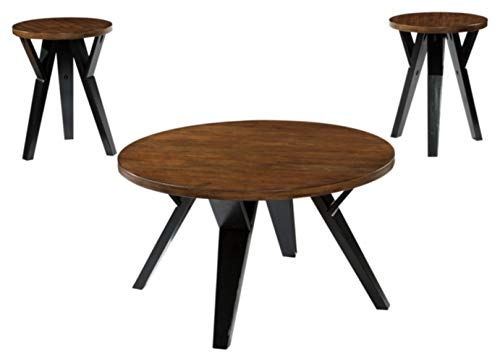 Signature Design by Ashley - Ingel Contemporary Table Set - Includes Coffee Table & 2 End Tables, Brown/Black