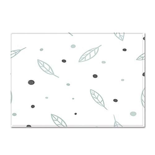 Gruesa alfombra de terciopelo suave antideslizante alfombra inferior niño's Room Play Mat Nursery Floor Pad Cartoon Leaf Pattern Runner Alfombra para el dormitorio de la sala de estar,122 * 183CM
