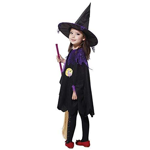 HUBINGRONG Vestiti di Halloween Fase Volante Nera Sorcerer Scopa di Strega Mostra Set (Color : Large)