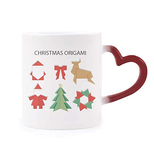 DIYthinker Rot Abstract Christmas Origami Muster Morphing Becher-Hitze-Sensitive rotes Herz-Cup Mehrfarbig