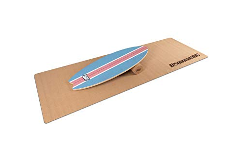 Indoorboard WAVE Set Balance Board Skateboard Surfboard Balanceboard (Blue, 150 mm x 45 cm (Korkrolle))