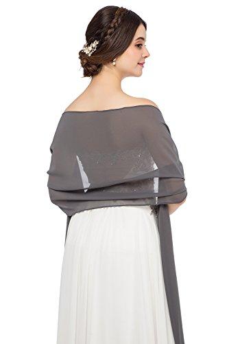 JAEDEN Stola Chiffon Schal für Brautkleid Abendkleider Ballkleider Hochzeitskleider in verschiedenen Farben 45cmx220cm Grey