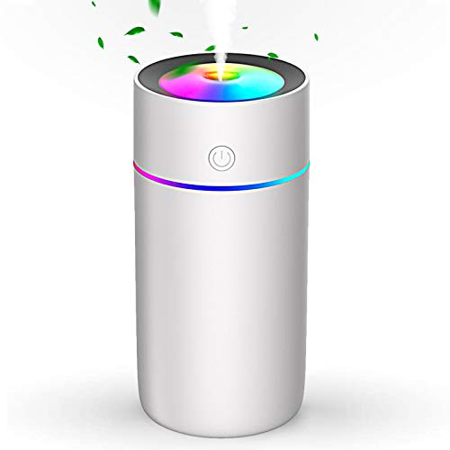 StillCool USB Humidifier, 320ml Mini Portable Humidifier, Whisper Quiet Air Humidifier with 7-Color LED Night Light, Auto-Off, Ultra-Quiet, Suitable for Home, Office, Baby Room, Car