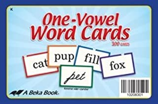 One-Vowel Word Cards - Abeka 4 to 5 Year Old Kindergarten Phonics Reading Program Teaching Aid Flash Cards