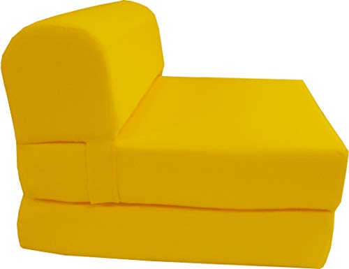 D&D Futon Furniture 6' Thick X 36' Wide X 70' Long Twin Size Yellow Sleeper Chair Folding Foam Bed 1.8lbs Density, Studio Guest Foldable Chair Beds, Foam Sofa, Couch.