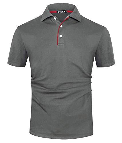 Kuson Herren Poloshirt Kurzarm Patchwork Sommer T-Shirt Men's Polo Shirt Baumwolle Dunkelgrau XL