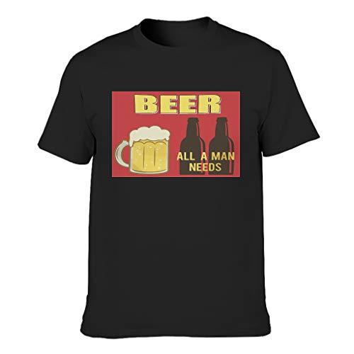 Bier Herren T-Shirt Baumwolle Oberbekleidung, Stilvoll - Alles Black s