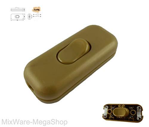Schnur-Zwischenschalter Gold, 2-polig, 6 A, 250 V, Paßt für LED, SMD, Mit Schutzleiter-Klemme