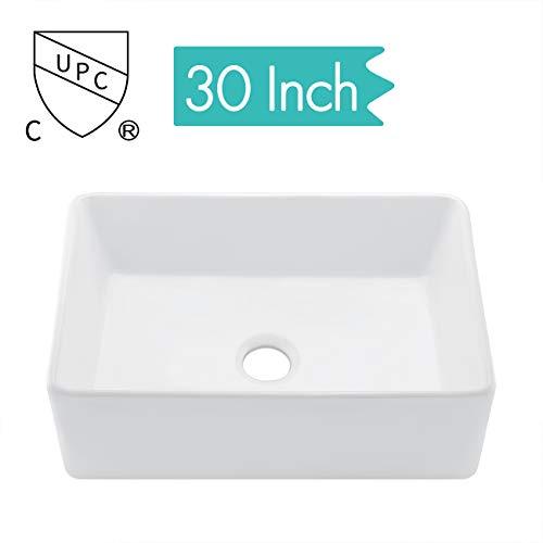 KES cUPC Fireclay Sink Farmhouse Kitchen Sink (30 Inch Porcelain Undermount Rectangular White)...