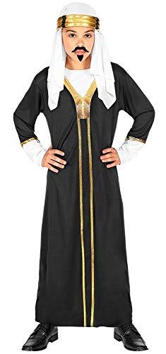 Das Kostümland Marrakesch - Disfraz de Sultan para niños, Color Negro y Dorado