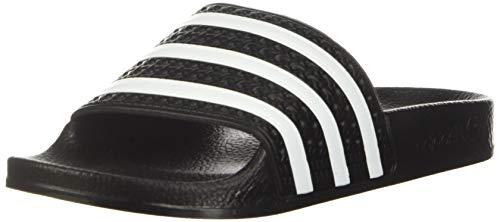 adidas Originals Chaleco Adilette unisex para niños, negro/blanco/negro, talla 4 M US niño grande