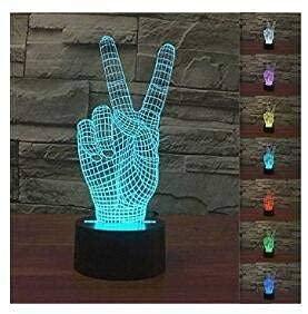 Luz de noche LED Visualización mágica de la victoria en 3D Increíble ilusión óptica Control táctil Luz de 7 colores Cambio para la habitación de los niños Decoración del hogar Regalo