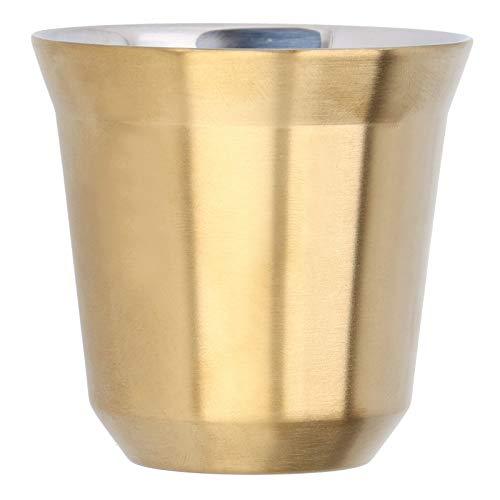 Taza de café de acero inoxidable de 80 ml, taza de cápsula con aislamiento de doble pared para la cafetería de la oficina en casa(Oro)