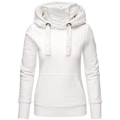 TOPKEAL Frauen Hoodie Pullover Damen Kapuzenpullover Streifen Sweatshirt Winterpullover Langarm Jacke mit Kapuze Tasche Mantel Tops Blouse Pulli (Weiß 1, XXXXL)
