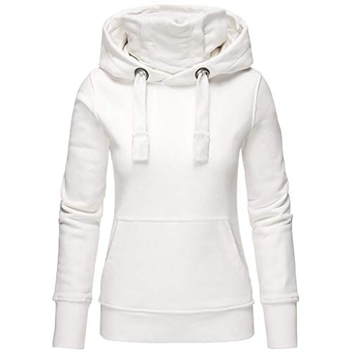 TOPKEAL Frauen Hoodie Pullover Damen Kapuzenpullover Streifen Sweatshirt Winterpullover Langarm Jacke mit Kapuze Tasche Mantel Tops Blouse Pulli (Weiß 1, S)