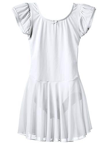 Dancina Mädchen Kurzarm Ballettkleid aus Baumwolle mit Flügelärmeln 116/122 Weiß