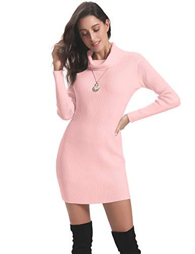 Abollria Vestido a Punto Cuello Alto Suéter Elegante para Mujer Jerséy Clásico para Otoño Invierno Cuello Alto, Rosa, L