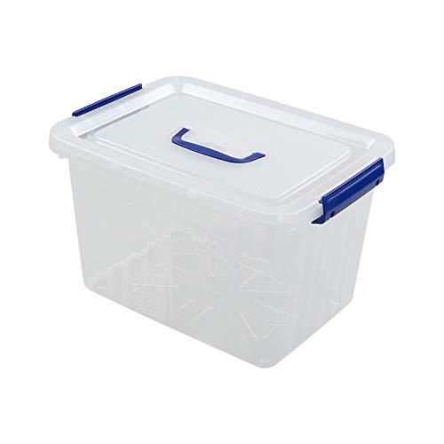 Xowine Cajas de almacenamiento de plástico de 10 L con asa de pestillo azul